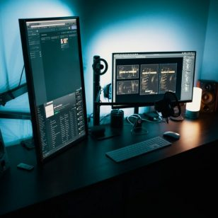 black flat screen monitor
