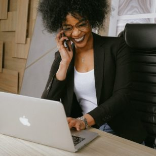 business woman communicating with costumers